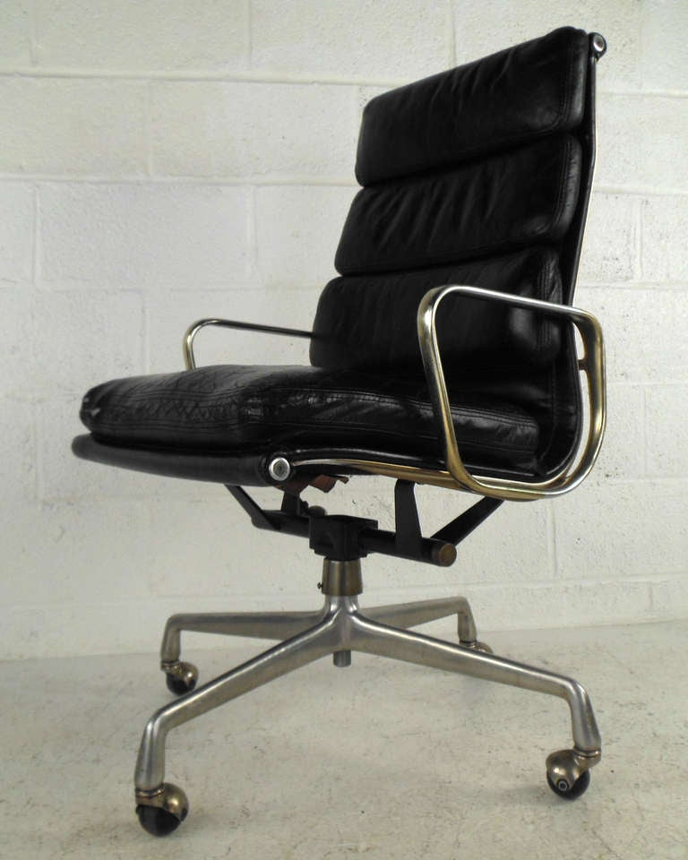 Mid Century Executive Leather Desk Chair By Herman Miller