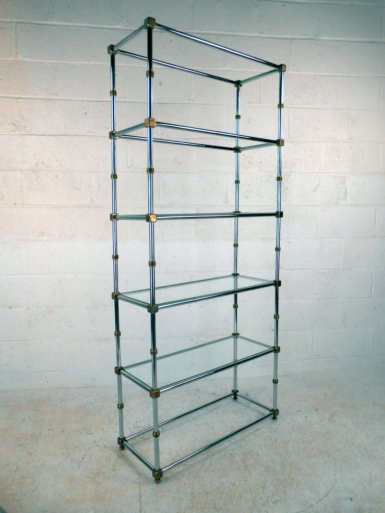 mid century chrome and glass etagere display for sale at. Black Bedroom Furniture Sets. Home Design Ideas