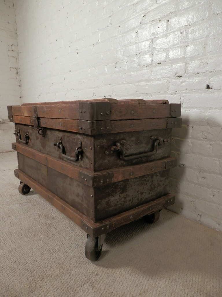 Industrial Metal And Wood Rolling Trunk At 1stdibs