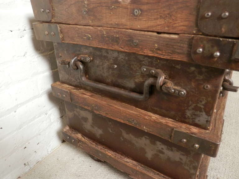 Industrial Metal And Wood Rolling Trunk 5