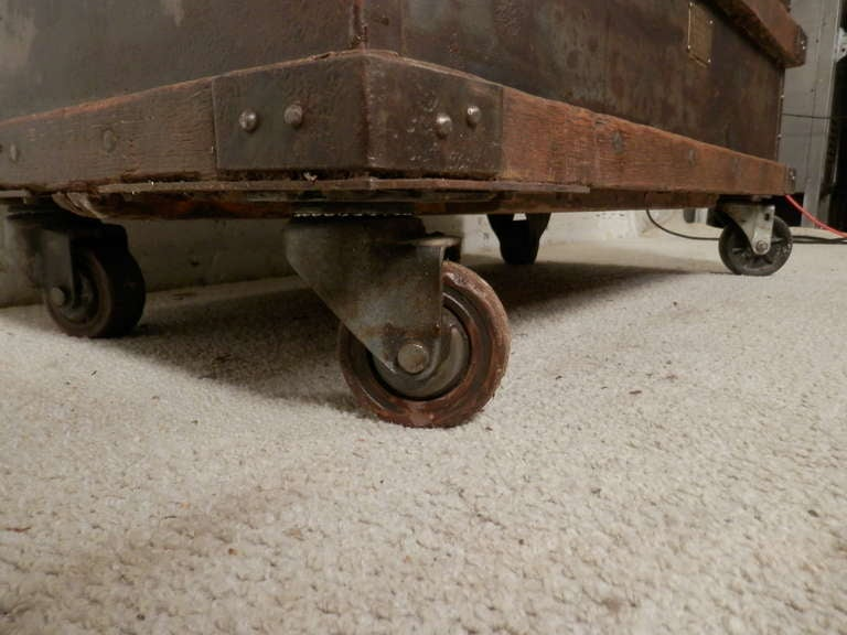 Industrial Metal And Wood Rolling Trunk 6