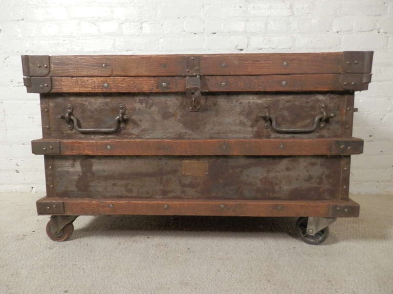 Industrial Metal And Wood Rolling Trunk 2
