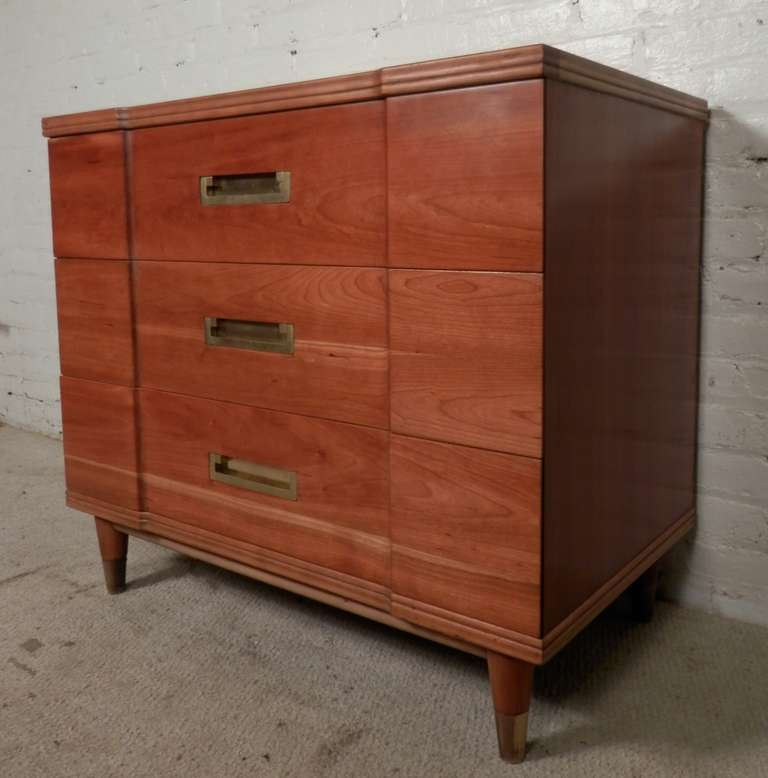 John Widdicomb Dresser For Vintage Modern Three Drawer With Br Pullatching Leg Caps Nicely Sculpted Front