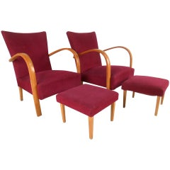 Italian Modern Bentwood Armchairs w/ ottoman