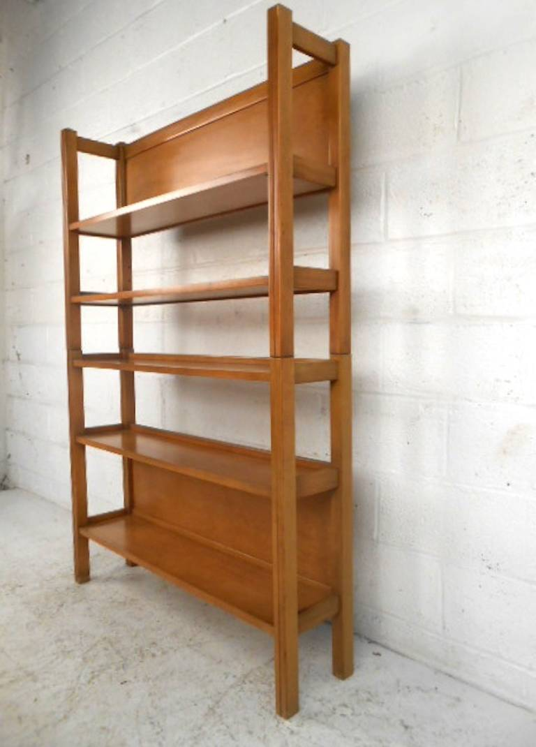 Unique Mid-Century Modern Two Piece Maple Bookshelf at 1stdibs
