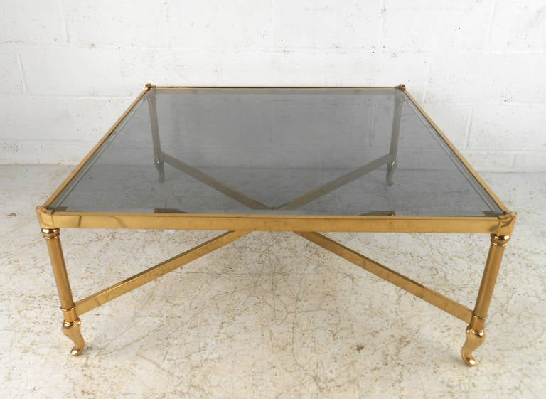 Unique mid century brass and smoked glass cocktail table for Unusual cocktail tables