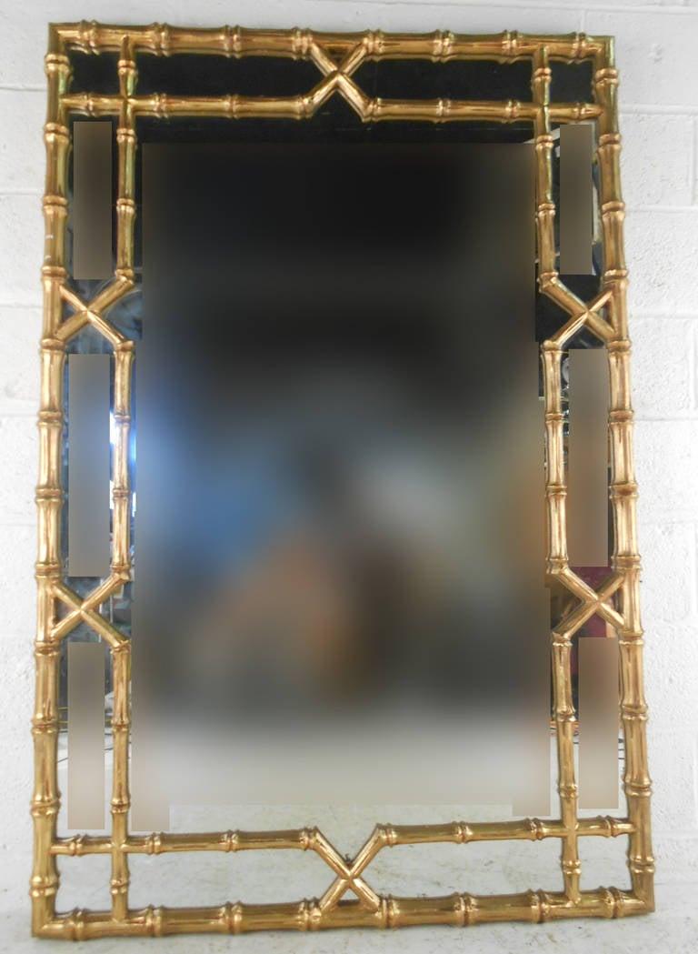 Mid Century Hollywood Regency Gilded Bamboo Mirror At 1stdibs
