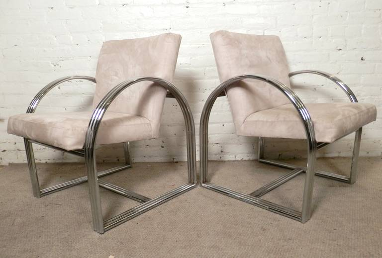 Vintage lounge chairs with dramatic tubular chrome frames. Micro suede fabric, comfortable cushioned seats.   (Please confirm item location - NY or NJ - with dealer)