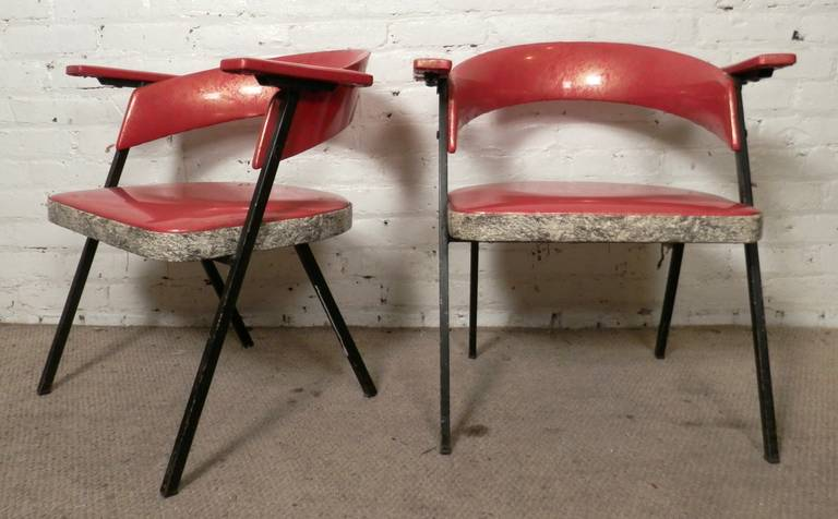 American Unique Mid-Century Vinyl Arm Chairs For Sale