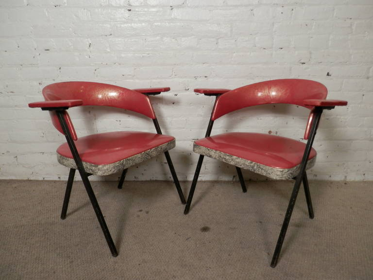 Unique Mid-Century Vinyl Arm Chairs For Sale 3