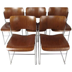 Set of Midcentury 40/4 Stackable Chairs by David Rowland