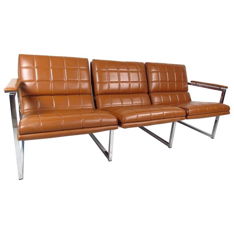 Mid-Century Modern Milo Baughman Style Three-Seat Sofa For Sale