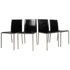 Set of Four Midcentury Italian Leather Dining Chairs by Calligaris