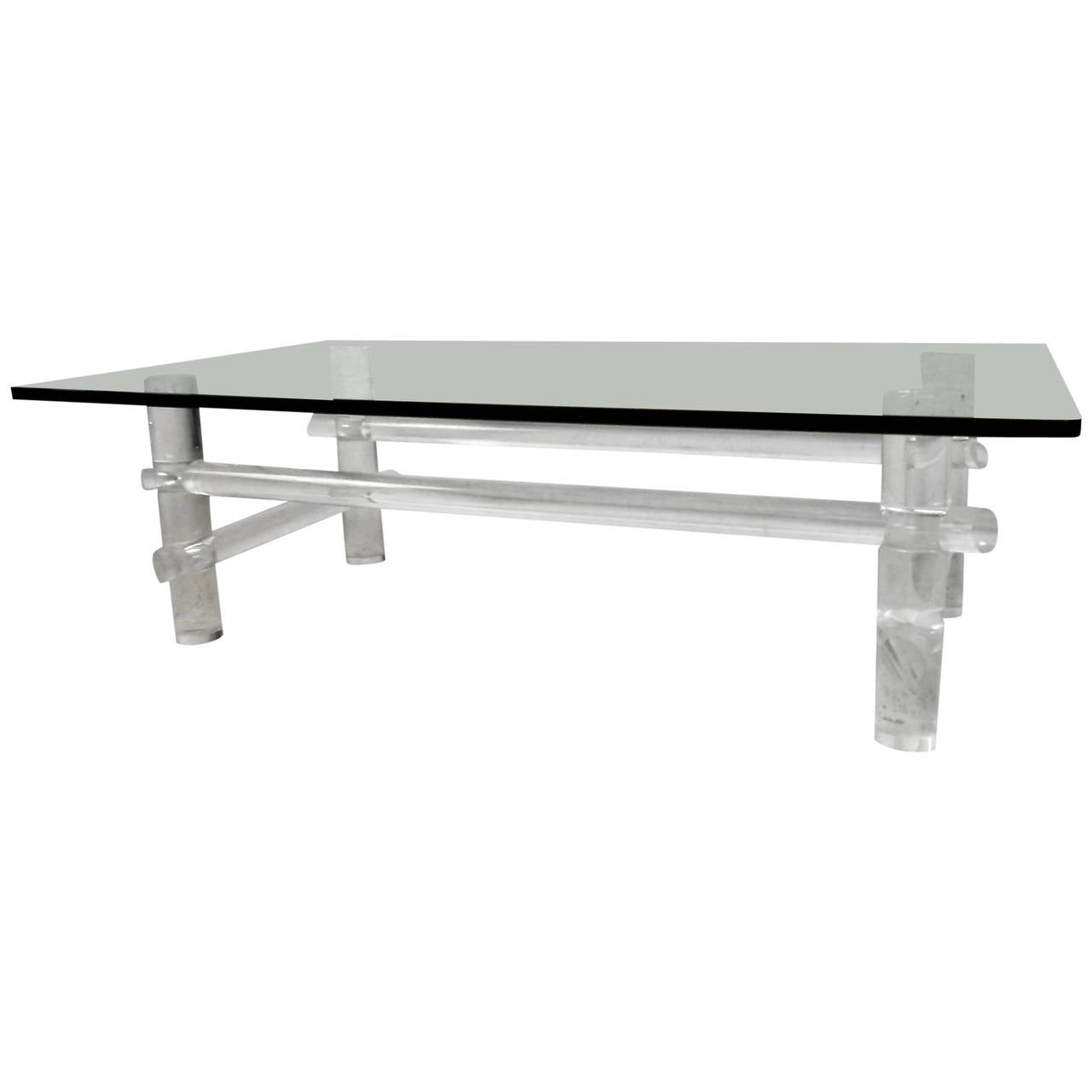 Mid-Century Modern Lucite Base Coffee Table By Les