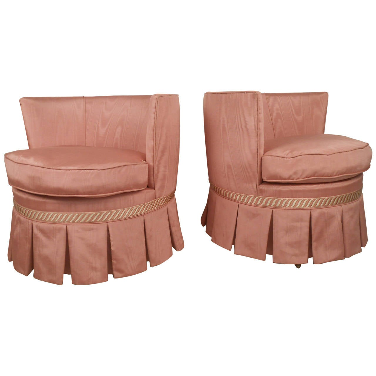 Pair Barrel Back Side Chairs on Casters