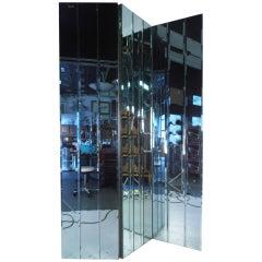 Three Panel Beveled Mirror Room Divider