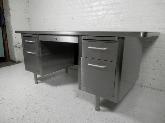 Mid Century Modern Brushed Metal Tanker Desk By Steelcase
