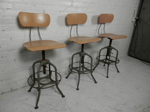 Machine Age Style Adjustable Drafting Stools By Toledo Co