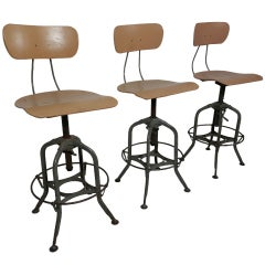 Machine Age Style Adjustable Drafting Stools By Toledo Co.
