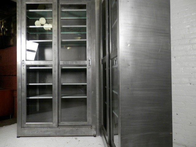 Industrial Metal Sliding Window : Single industrial metal cabinet w sliding glass doors at