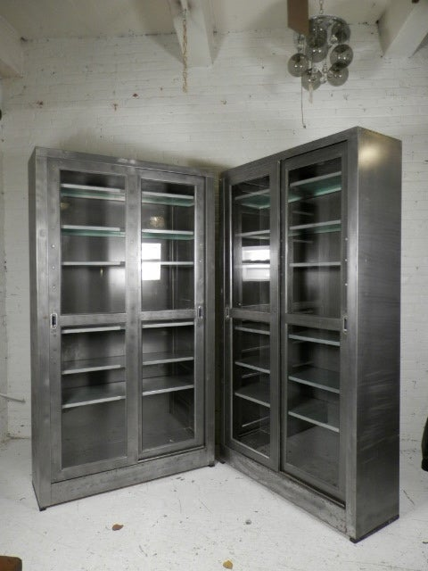 Single Industrial Metal Cabinet W Sliding Glass Doors At