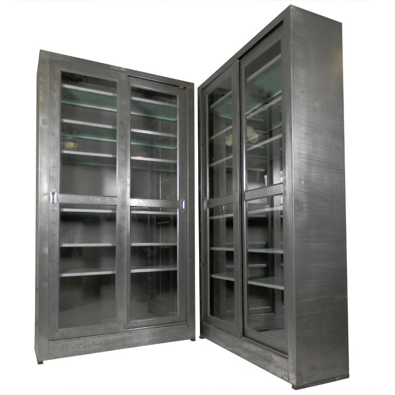 Single Industrial Metal Cabinet W Sliding Glass Doors At 1stdibs