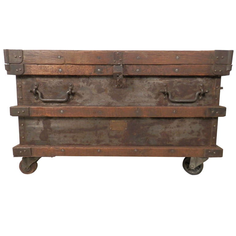 Industrial Metal And Wood Rolling Trunk