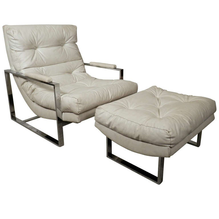 Milo Baughman Style Tufted Lounge Chair with Ottoman For Sale at 1stdibs