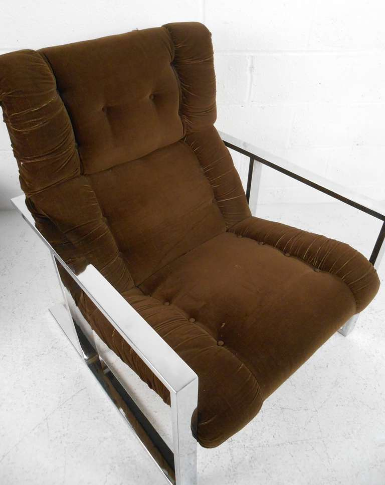 Vintage Lounge Chair with Ottoman after Milo Baughman In Good Condition For Sale In Brooklyn, NY
