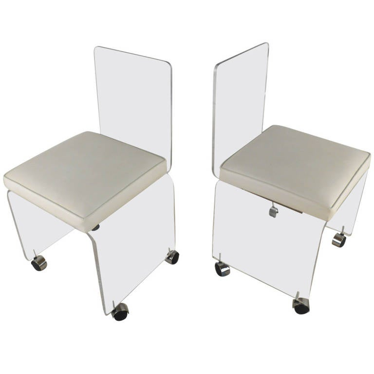 Pair Mid Century Modern Lucite Rolling Chairs At 1stdibs