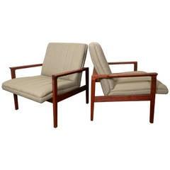 Mid-Century Modern Teak Frame Arm Chairs