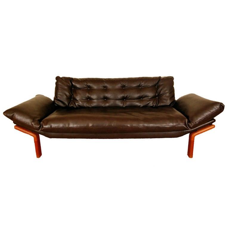 Mid Century Modern Danish Teak Tufted Sofa By Komfort For