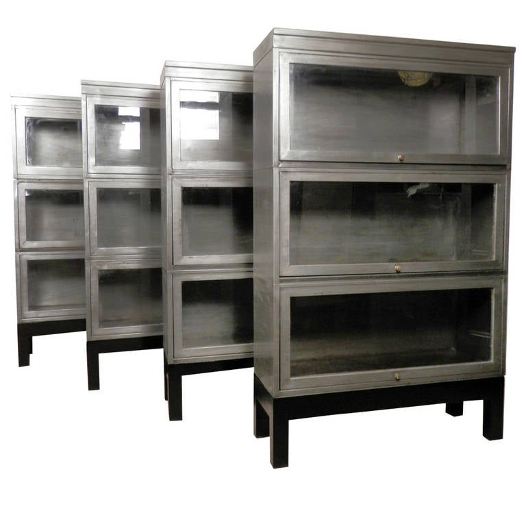 midcentury stack metal barrister bookcase single unit 1