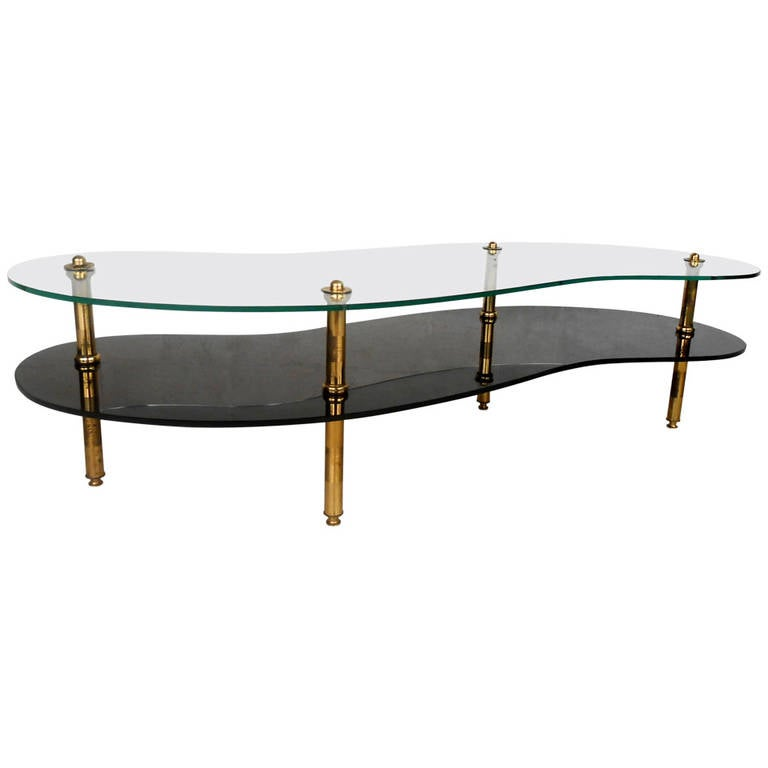 Unique Mid Century Modern Two Tier Brass And Glass Coffee Table At 1stdibs
