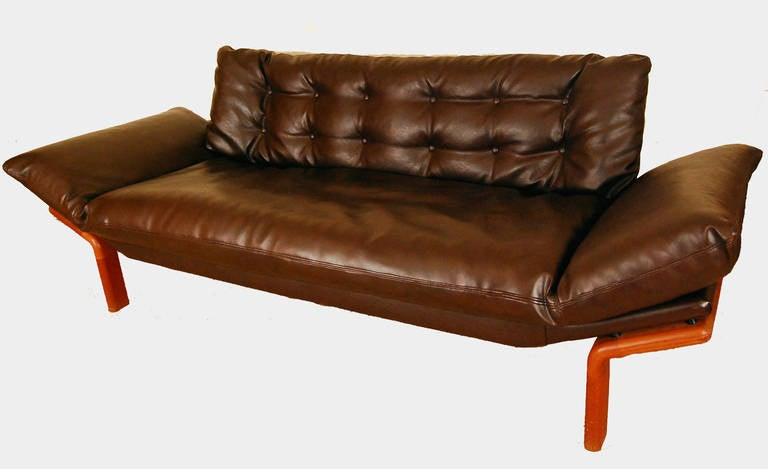 mid century modern danish teak tufted sofa by komfort at 1stdibs. Black Bedroom Furniture Sets. Home Design Ideas
