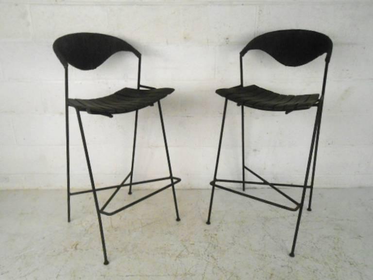 Of four mid century modern arthur umanoff slat bar stools at 1stdibs