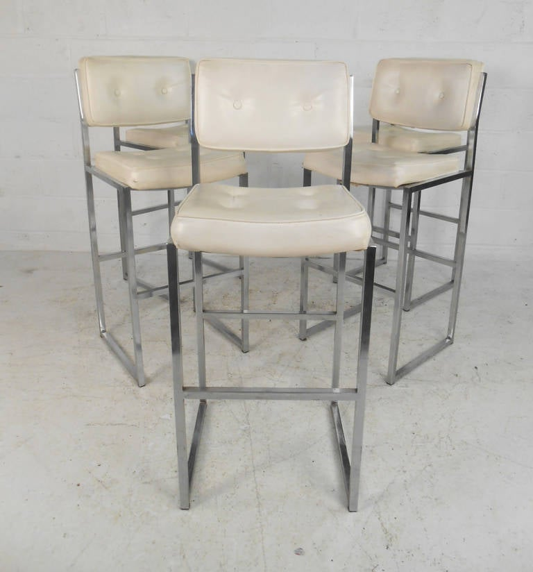 Set of five mid century modern bar stools by chromcraft at 1stdibs