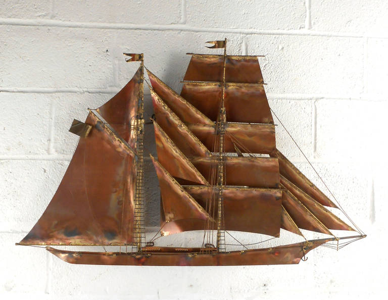Mid-Century Modern Clipper Ship Wall Sculpture By C. Jere