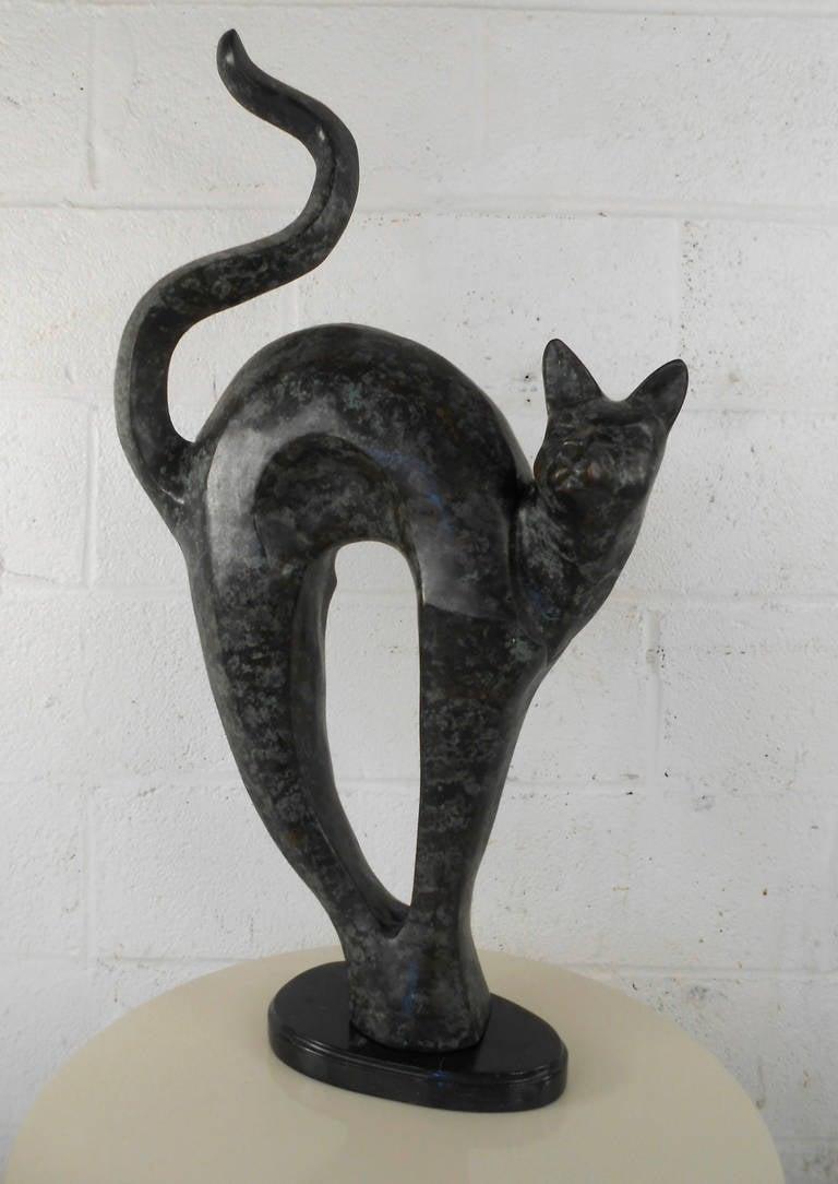 Unique Mid Century Modern Bronze Arched Back Cat Sculpture