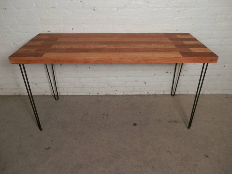 Beautiful Mid Century Modern Solid Wood Butcher Block Table Set On Top Of  Tall Bent