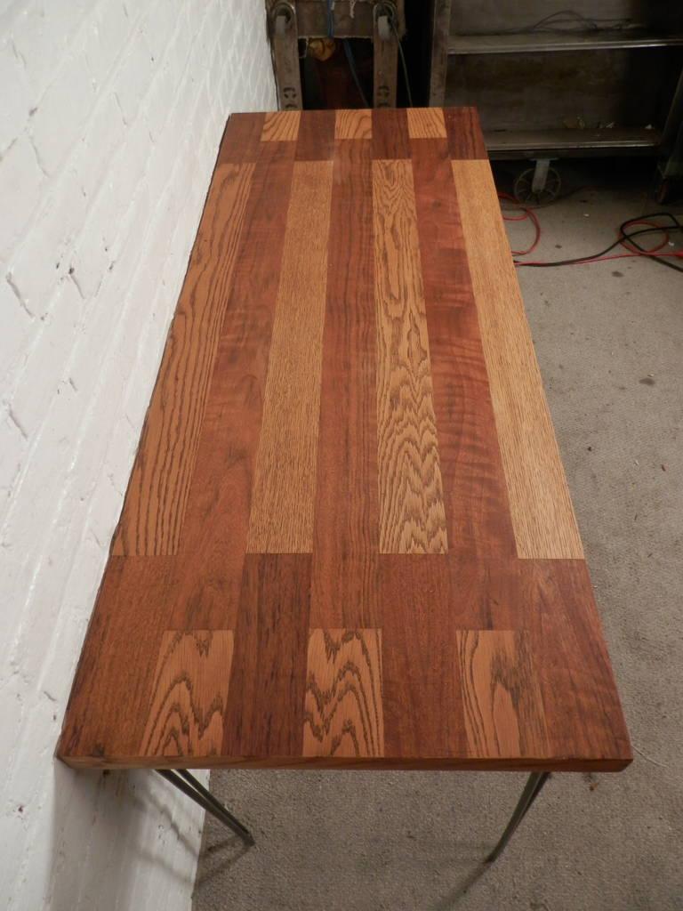Mid-20th Century Mid-Century Butcher Block Table On Hairpin Iron Legs