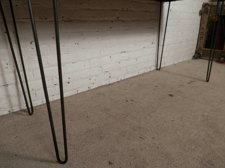Wood Mid-Century Butcher Block Table On Hairpin Iron Legs