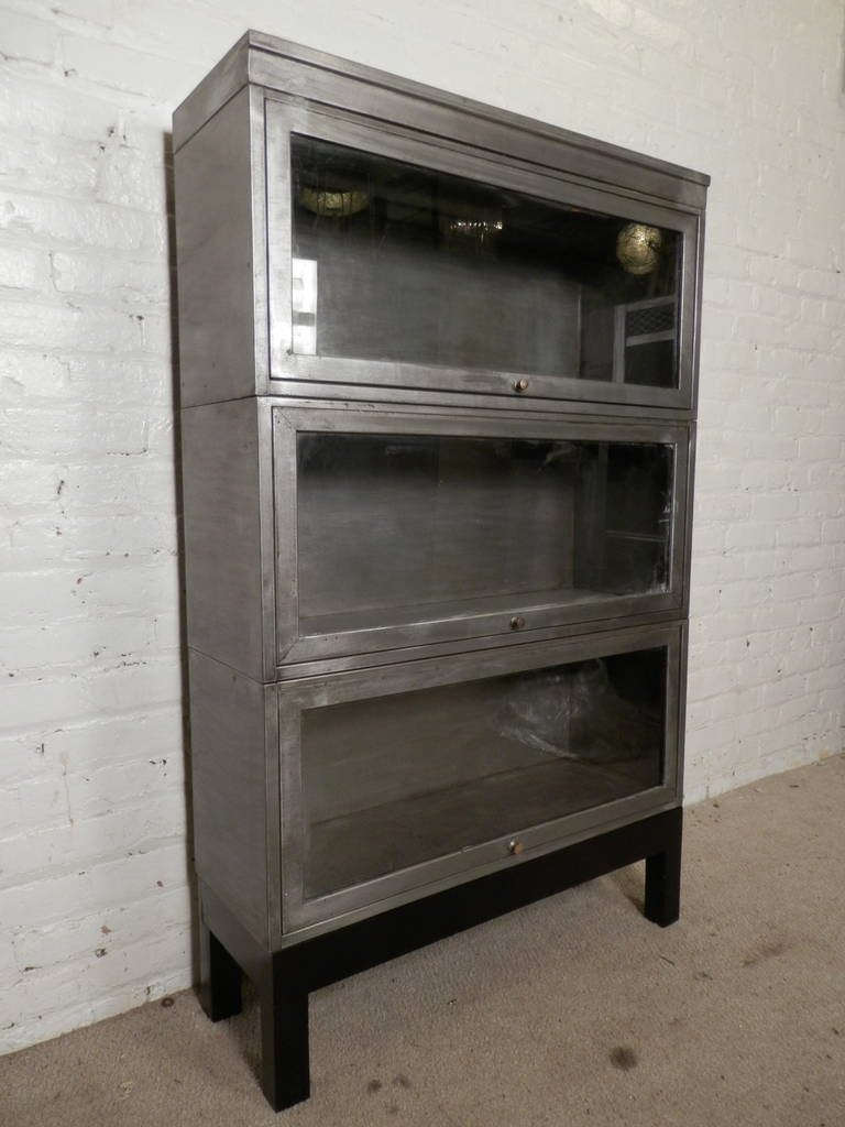 Mid Century Stack Metal Barrister Bookcase Single Unit