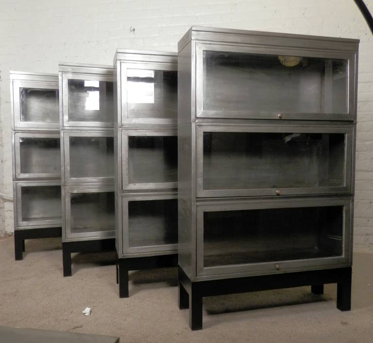 Metal and glass bookcase Stainless Steel We Have Limited Set Of Four Barrister Metal Stack Bookcases listing Is For One 1stdibs Midcentury Stack Metal Barrister Bookcase single Unit At 1stdibs
