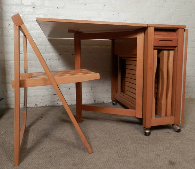 Mid Century Modern Drop Leaf Table With Chairs 3