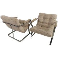 Stylish Mid-Century Armchairs in the Style of Milo Baughman