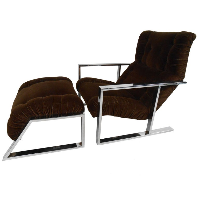Vintage Lounge Chair with Ottoman after Milo Baughman For Sale