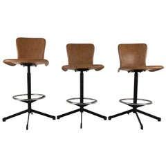 Set of Mid-Century Eames Style Swivel Bar Stools