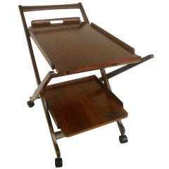 Mid-Century Modern Walnut Service Cart with Tray