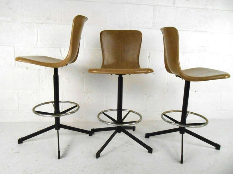 Set Of Mid Century Eames Style Swivel Bar Stools At 1stdibs